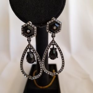 Silver with Black hanging earrings.